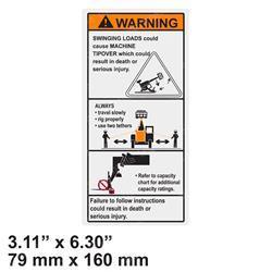 JLG 1001207217 Decal Danger Swinging Loads